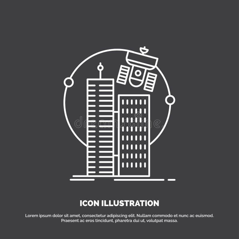 bouwend, slimme stad, technologie, satelliet, bedrijfspictogram Lijn vectorsymbool voor UI en UX, website of mobiele toepassing royalty-vrije illustratie
