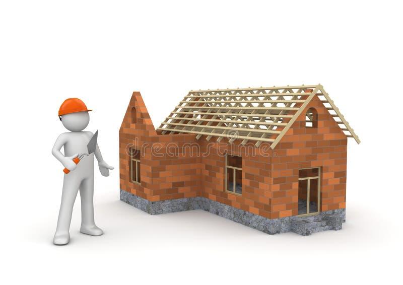 Bouwer/in aanbouw wireframe huis stock illustratie