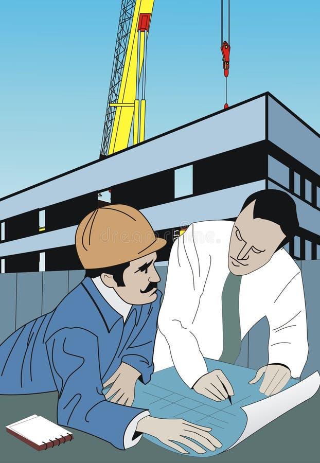 Bouwer en architect royalty-vrije illustratie