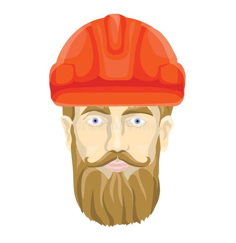 Bouwer, fabrieksarbeider Het gezicht van een gebaarde mens in een bouwhelm Vector illustratie, die op wit wordt geïsoleerdi stock illustratie
