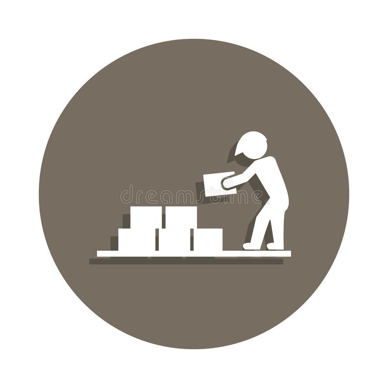 bouwer met bouwmaterialenpictogram in kentekenstijl Één van het pictogram van de Bouwmaterialeninzameling kan voor UI, UX worden  stock illustratie