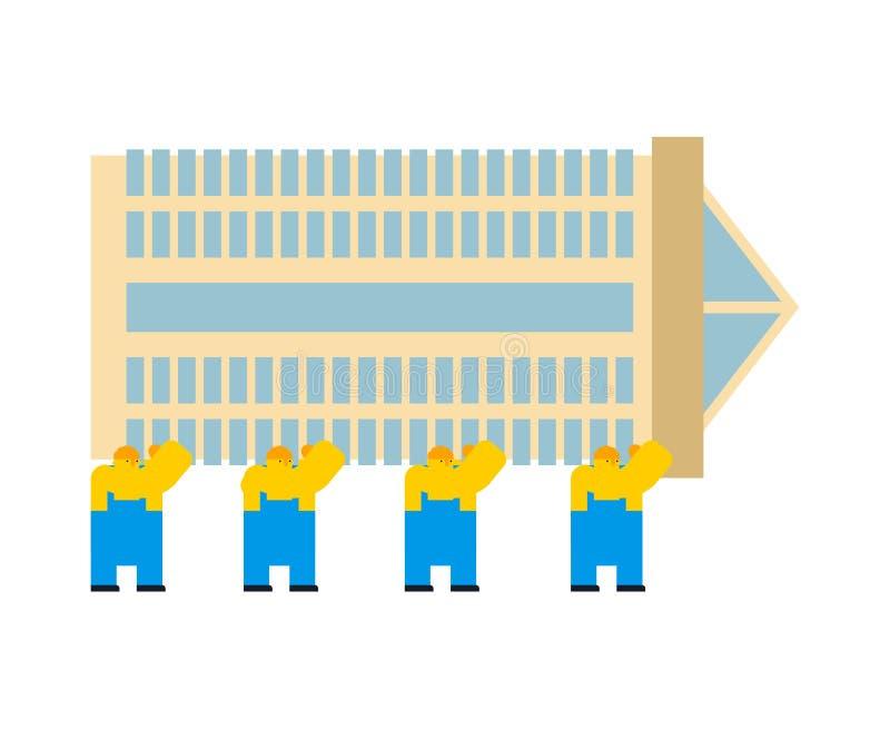 Bouwers die Wolkenkrabber bouwen De stijl van het beeldverhaal Arbeiders en bureau stock illustratie
