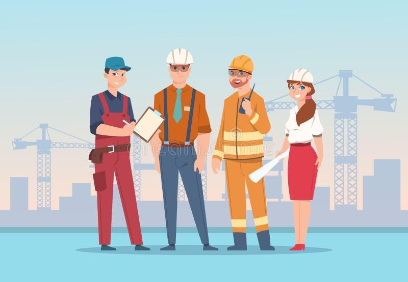 Bouwers en ingenieursachtergrond De arbeiders van de beeldverhaalfabriek en bedrijfskarakters bij bouw Vectorteam vector illustratie