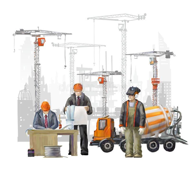 Bouwers op het bouwterrein Industriële illustratie met arbeiders, kranen en concrete mixermachine royalty-vrije stock foto