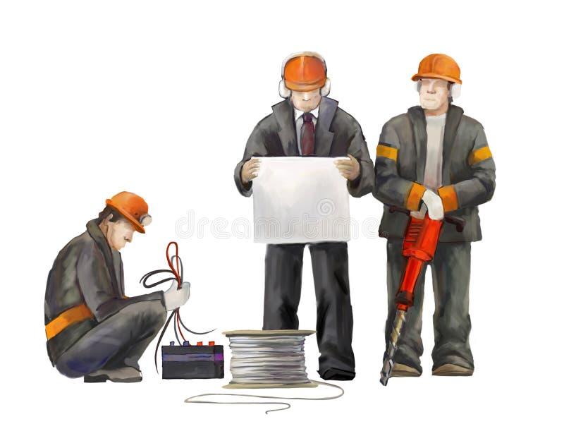 Bouwers op het bouwterrein Industriële illustratie met arbeiders, kranen en concrete mixermachine royalty-vrije illustratie