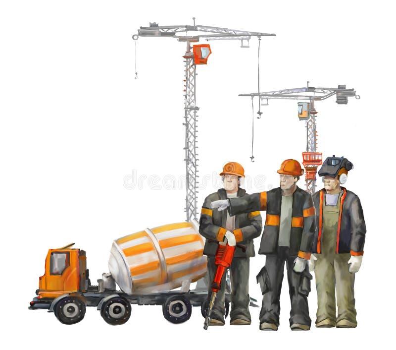 Bouwers op het bouwterrein Industriële illustratie met arbeiders, kranen en concrete mixermachine stock illustratie