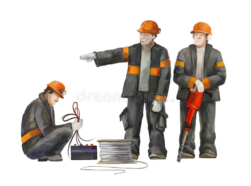 Bouwers op het bouwterrein Industriële illustratie met arbeiders, kranen en concrete mixermachine stock afbeelding