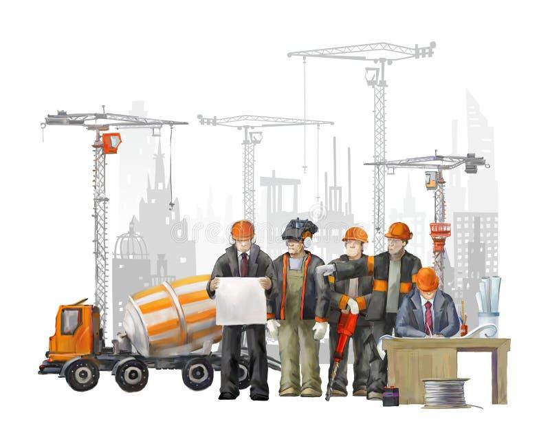Bouwers op het bouwterrein Industriële illustratie met arbeiders, kranen en concrete mixermachine stock foto's