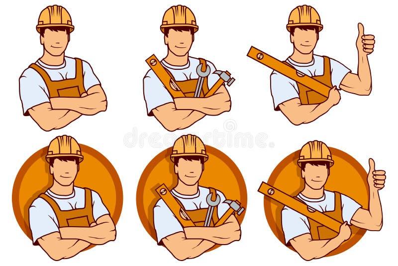 Bouwersarbeider, het embleem van de de bouwdienst, het embleem van het bouwersbedrijf, vectorillustratie voor Web en mobiel vector illustratie