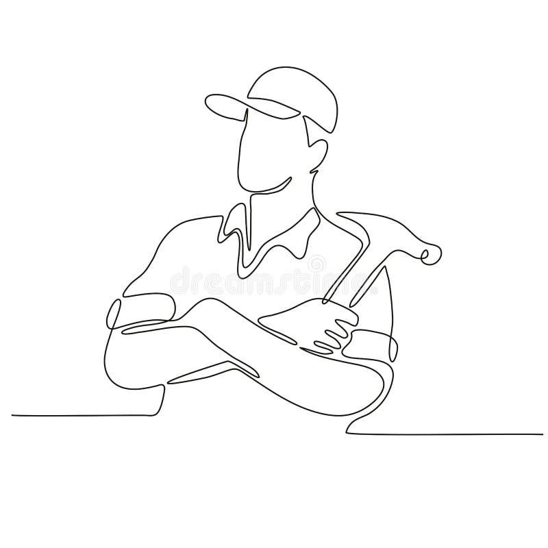 Bouwerstimmerman Continuous Line stock illustratie