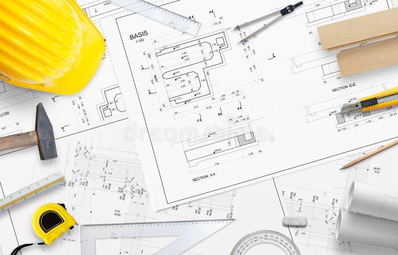 Bouwhulpmiddelen en toebehoren voor tekeningsprojecten en meting Vrije ruimte voor tekst stock foto