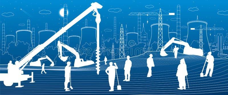 Bouwinstallatie Mensen het werken De industriemachines, kranen en bulldozers Illustratie van infrastructuur de stedelijke gebouwe vector illustratie