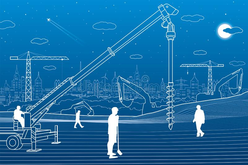 Bouwinstallatie Mensen het werken De industriemachines, kranen en bulldozers De illustratie van infrastructuurgebouwen Vector des stock illustratie