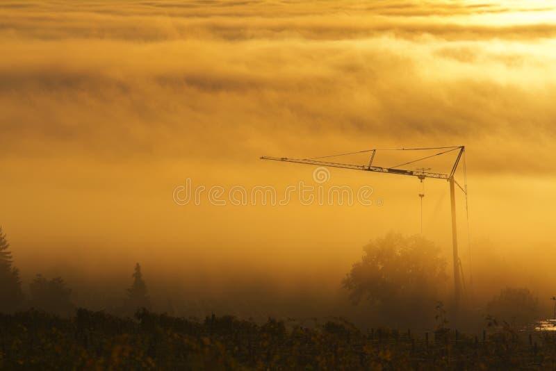 Bouwkraan in de mist royalty-vrije stock foto's