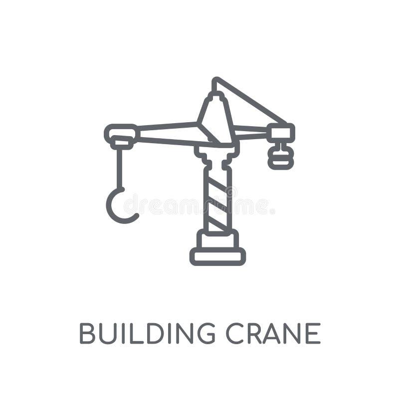 bouwkraan lineair pictogram Het moderne overzicht embleem c van de de bouwkraan stock illustratie