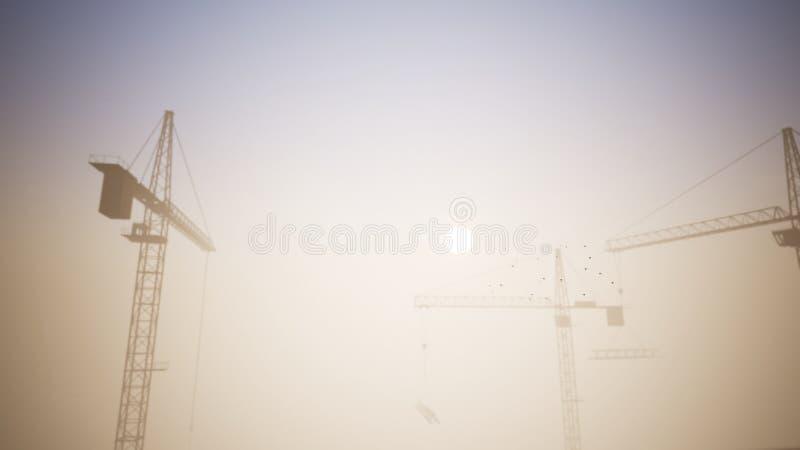 Bouwkranen in de Zonsondergangscène met het Overgaan van een Vliegtuig 1 stock illustratie