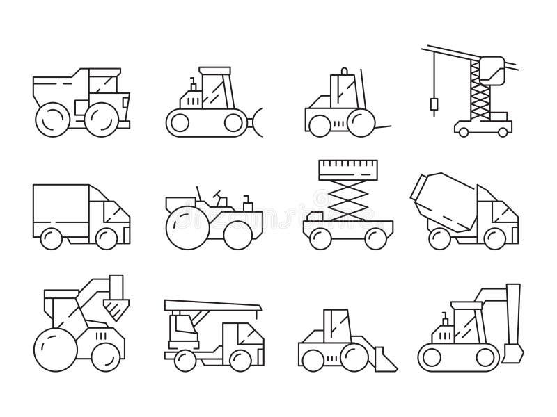 Bouwmachine Voertuig van de de kraanmaaimachine van de bulldozer het zware vrachtwagen om vector lineaire geplaatste pictogrammen royalty-vrije illustratie