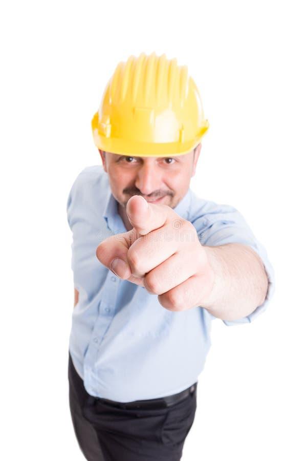 Bouwmanager die vinger richten aan de camera stock foto
