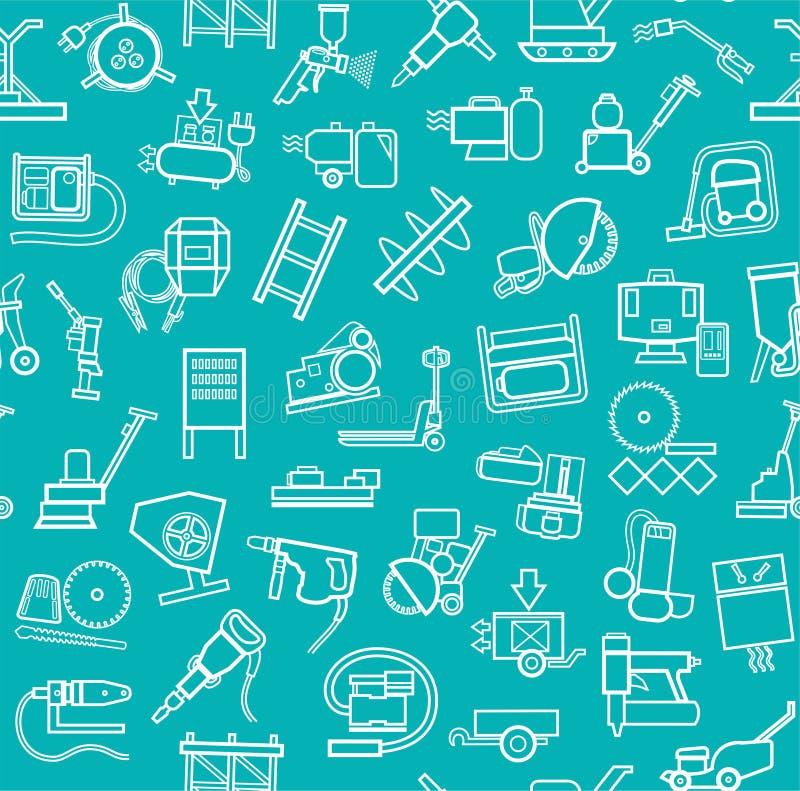 Bouwmateriaal en hulpmiddelen, naadloos blauwgroen patroon, contour stock illustratie