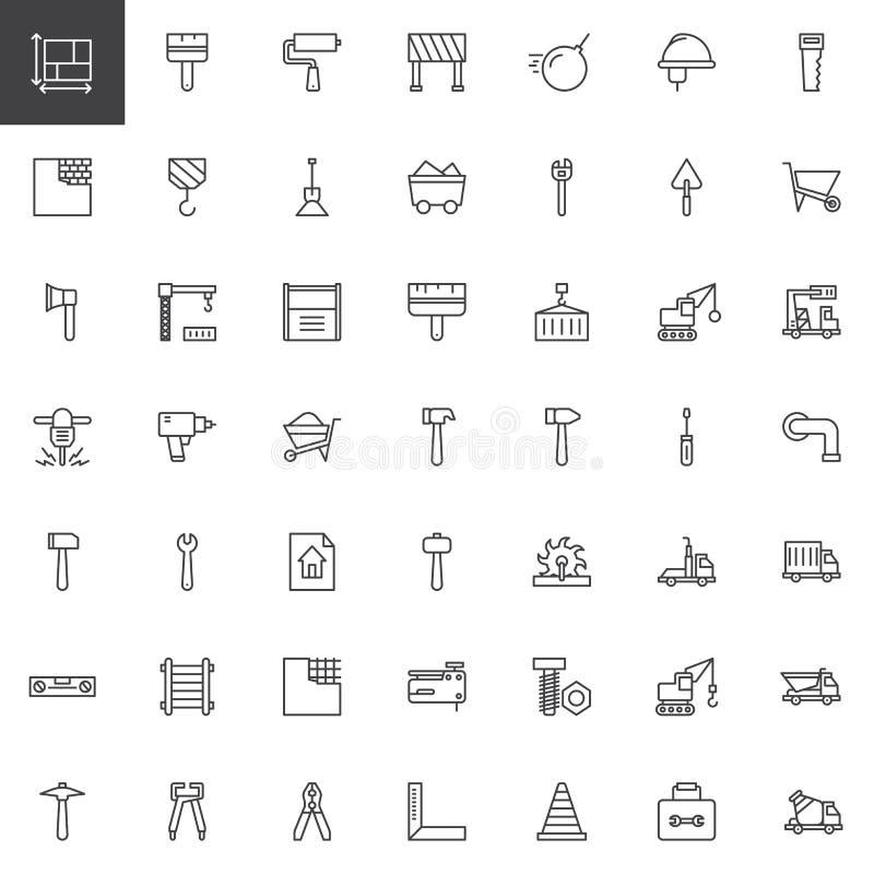Bouwmateriaal en van de hulpmiddelenlijn geplaatste pictogrammen vector illustratie