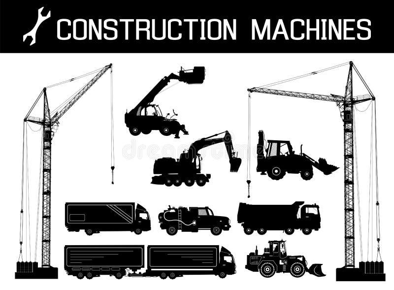 Bouwmateriaal: vrachtwagens, graafwerktuigen, bulldozer, lift, kranen Gedetailleerde silhouetten van geïsoleerde bouwmachines stock illustratie