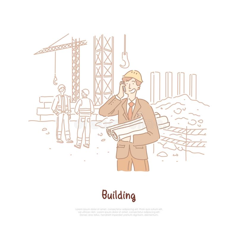 Bouwnijverheid, ingenieur die, voorman, bouwersberoep, jonge architect op telefoon spreken, die plan, ontwerpbanner houden vector illustratie