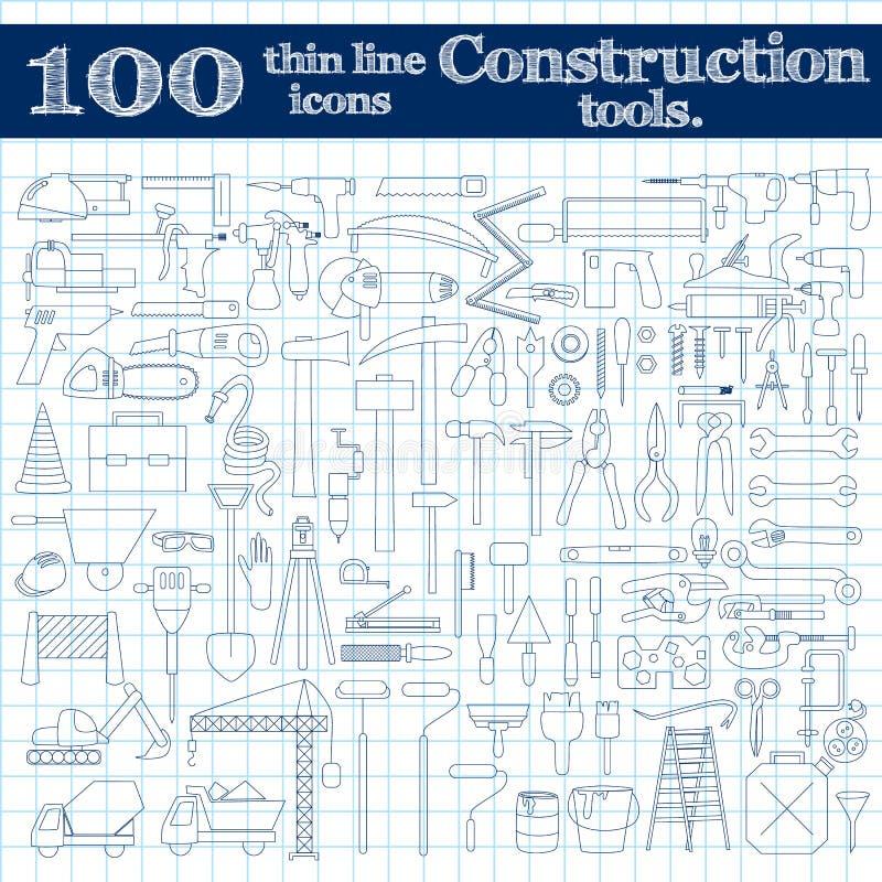 Bouwpictogrammen - boor, perforator en andere hulpmiddelen Dunne lijnreeks van 100 in blauwe kleuren op notitieboekje royalty-vrije illustratie