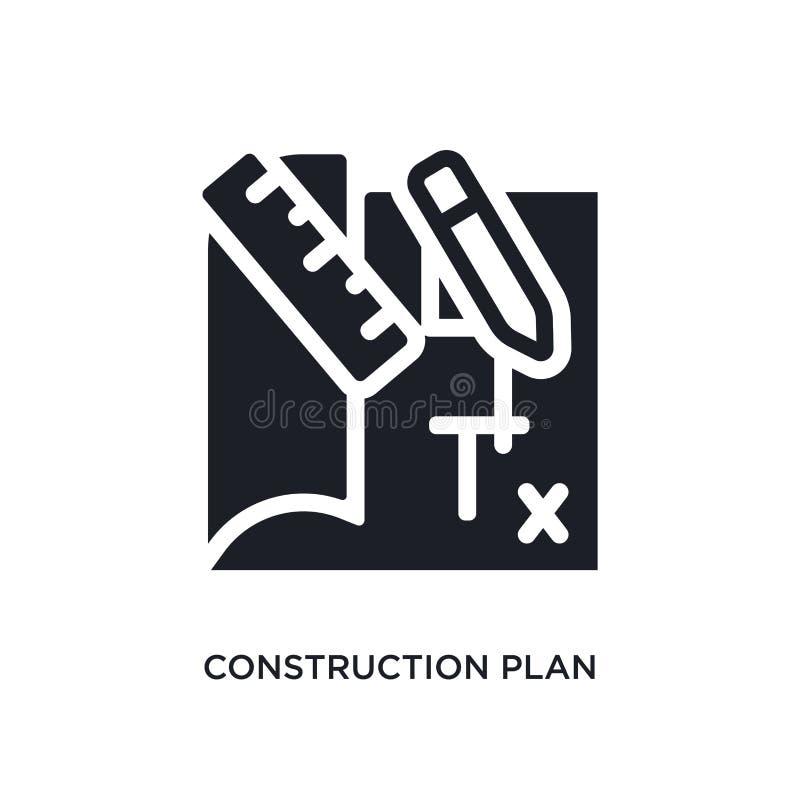 bouwplan geïsoleerd pictogram eenvoudige elementenillustratie van de pictogrammen van het bouwconcept editable het embleemteken v royalty-vrije stock fotografie