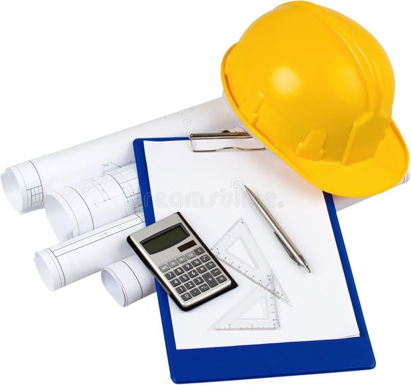 Bouwplannen, Calculator, Setquares, Pen stock afbeeldingen
