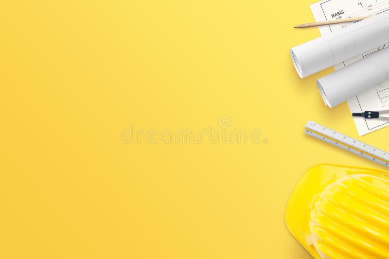Bouwprojecten, metingshulpmiddelen, helm op geel bureau royalty-vrije stock foto's