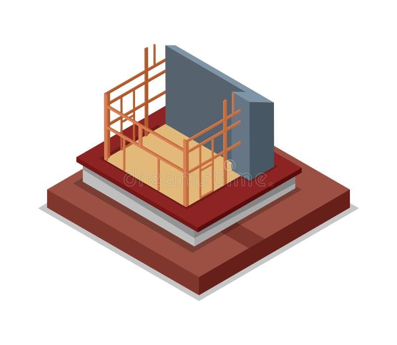 Bouwstructuur van huis isometrisch 3D pictogram royalty-vrije illustratie