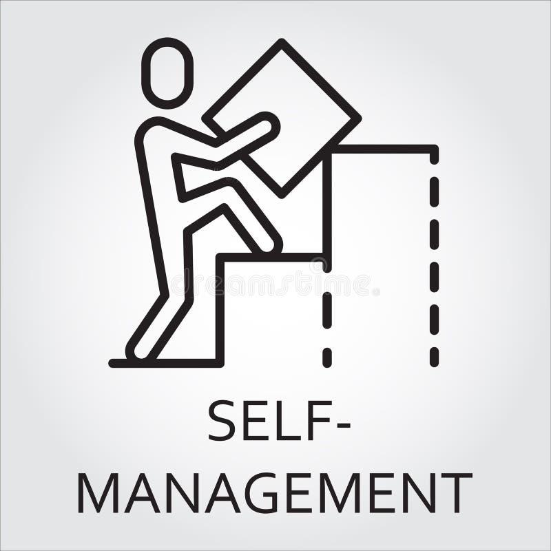 Bouwt het lijn vectorpictogram self-management als mens een grafiek royalty-vrije illustratie