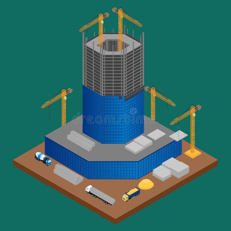 Bouwterrein met de bouw van in aanbouw wolkenkrabber vector illustratie