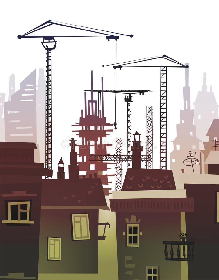 Bouwterrein met kranen De achtergrond van de stad stock illustratie