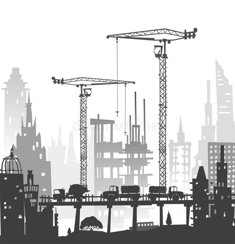 Bouwterrein met kranen De achtergrond van de stad royalty-vrije illustratie