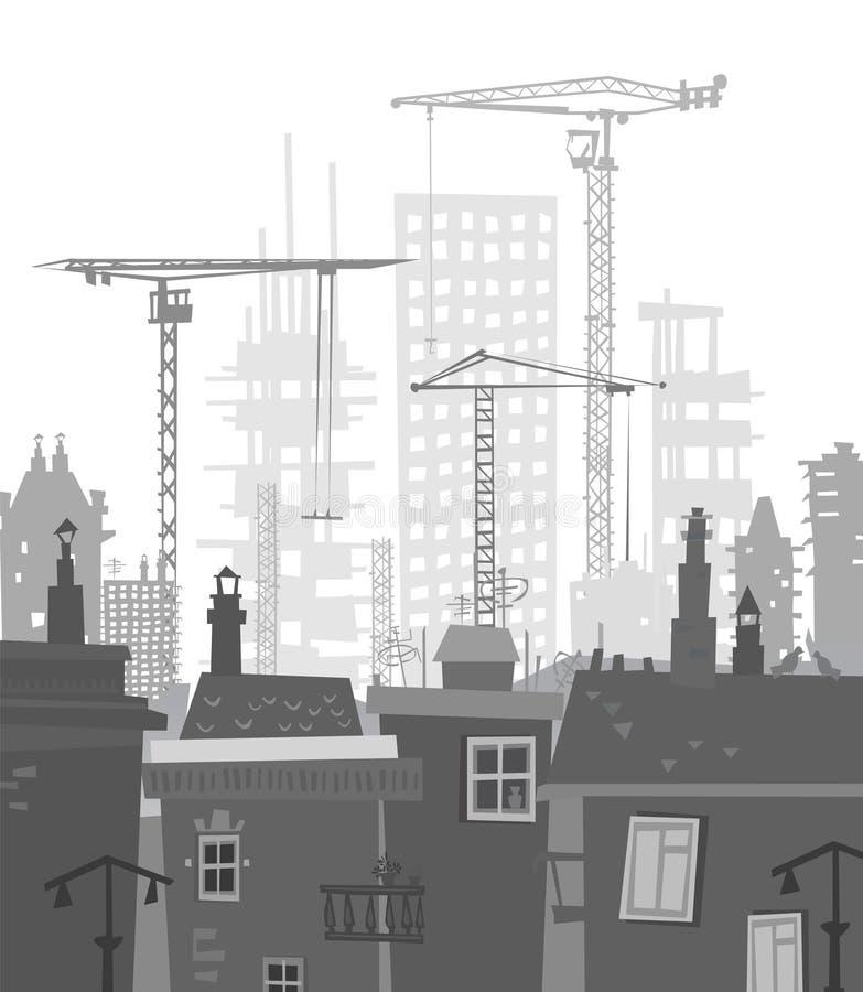 Bouwterrein met kranen De achtergrond van de stad vector illustratie