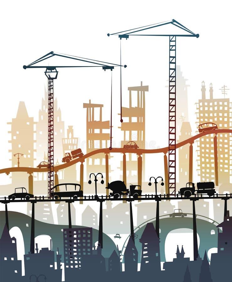 Bouwterrein met kranen Stads backgroundEaster konijntje en eierenachtergrond, Schets vector illustratie