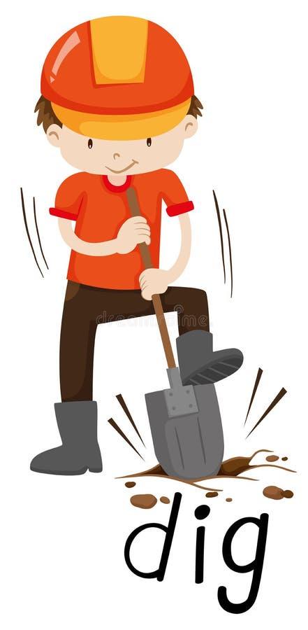 Bouwvakker die de grond graven vector illustratie