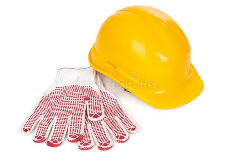 Bouwvakker en handschoenen stock afbeelding