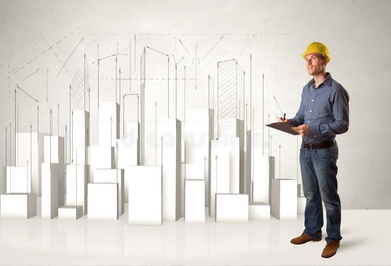 Bouwvakker het schaven met 3d gebouwen op achtergrond stock foto