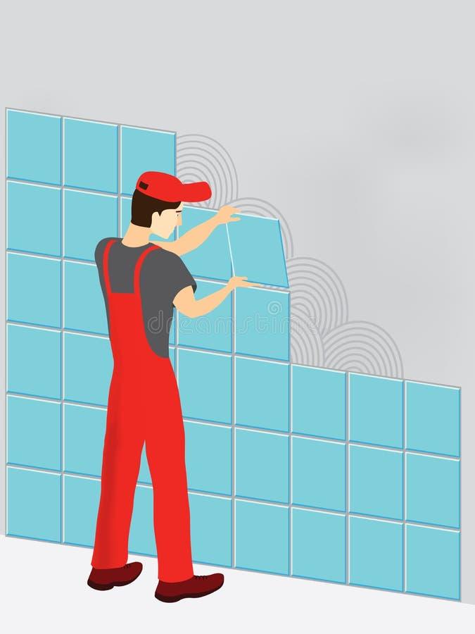 Bouwvakker in rood kostuum vector illustratie