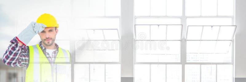 Bouwvakker voor bouwwerf met het effect van de venstersovergang royalty-vrije stock afbeeldingen