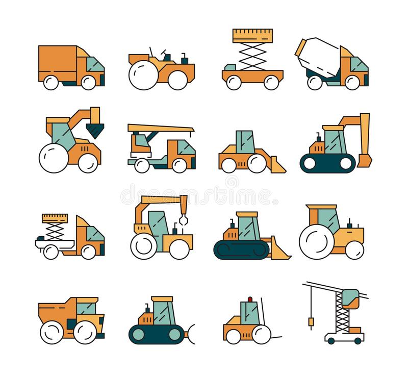 Bouwvervoer Zware het asfaltweg van de machinesvrachtwagen op machines voor bouwers die de tractoren van de kraanbulldozer opheff stock illustratie