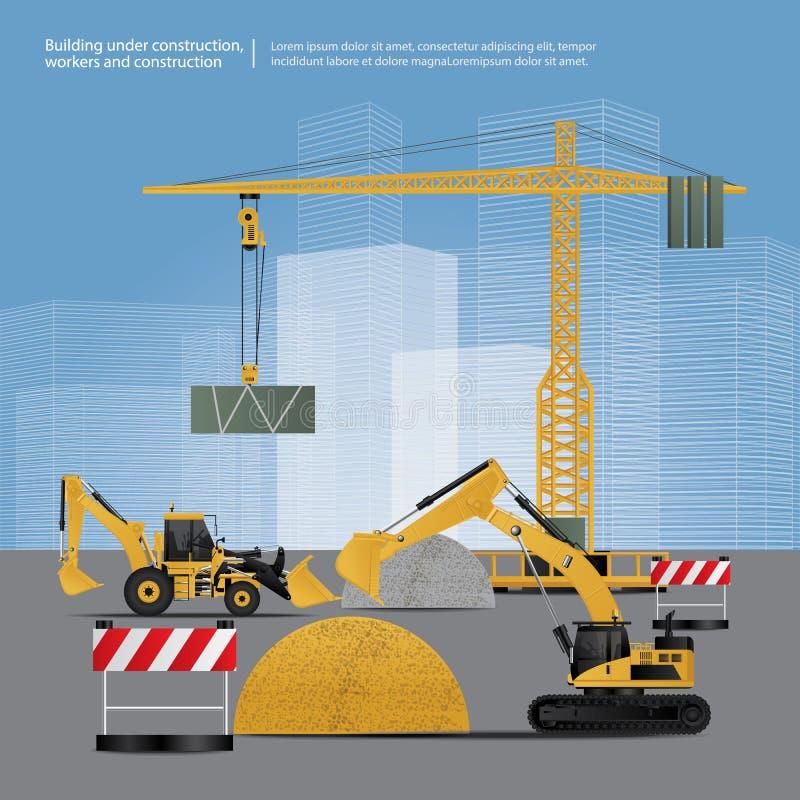 Bouwvoertuigen op Plaats vector illustratie