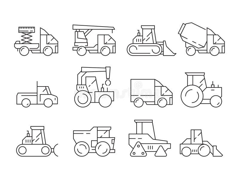 Bouwvoertuigen Zware machines voor bouwersvrachtwagens die de vector lineaire geïsoleerde symbolen opheffen van de kraanbulldozer vector illustratie