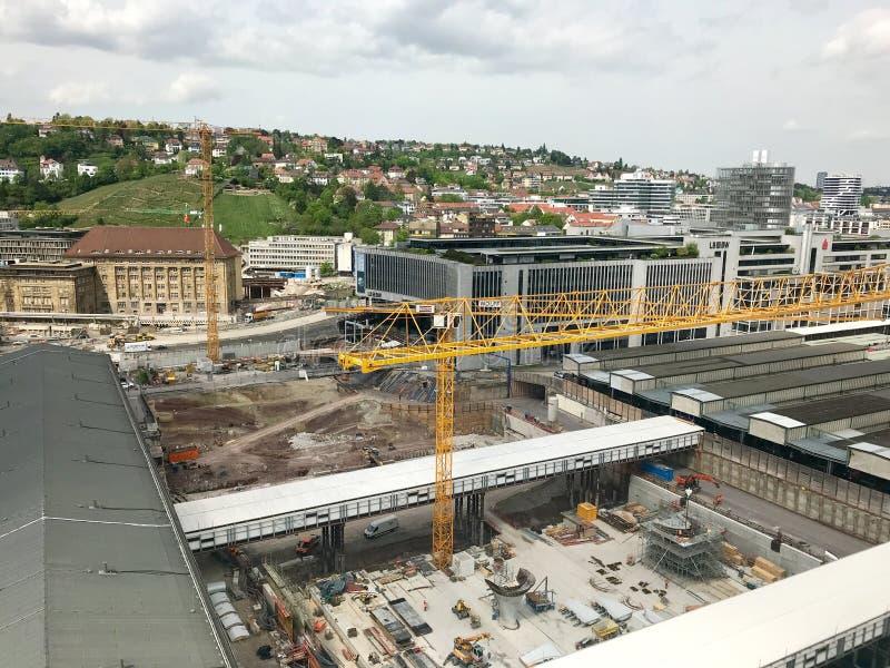 Bouwwerf bij de hoofdpost van Stuttgart voor het Stuttgart21-spoorwegproject stock foto's
