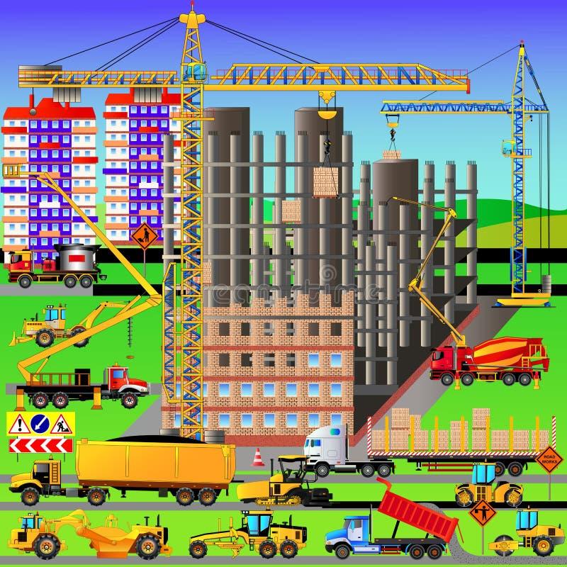 Bouwwerf, die een huis bouwen Vector illustratie stock illustratie