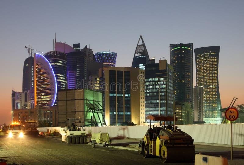 Bouwwerf in Doha stock foto's