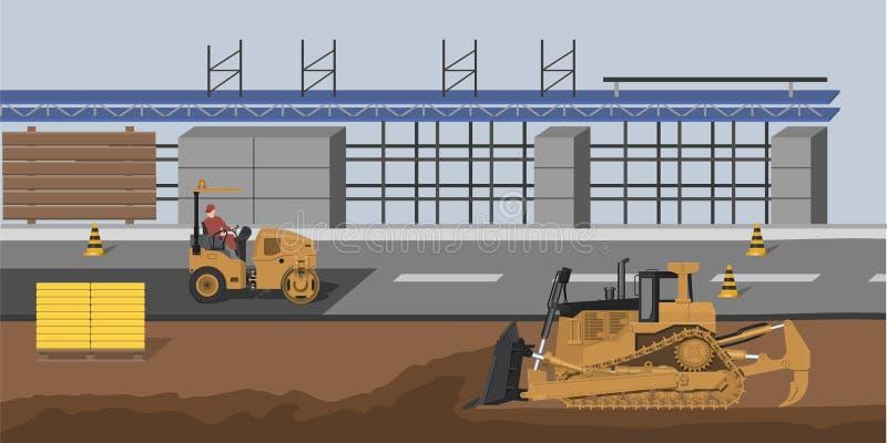 Bouwwerf met bulldozer en trillingsrol De marktbouw Industrieel landschap Cityscape met machines stock illustratie