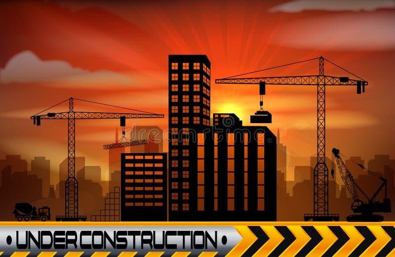 Bouwwerf met gebouwen en kranen stock illustratie